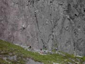 View of climbers on Rannoch Wall from the Curved Ridge