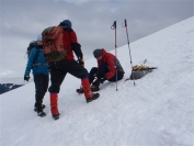Richard getting crampons on
