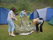 erecting tents