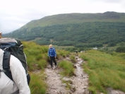 heading up the coire