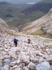 near the top of the coire
