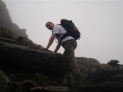 Michael scrambling up Stuc a'Chroin