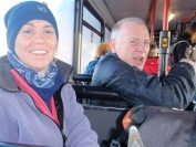 Kathryn and Mark on bus to Corrie